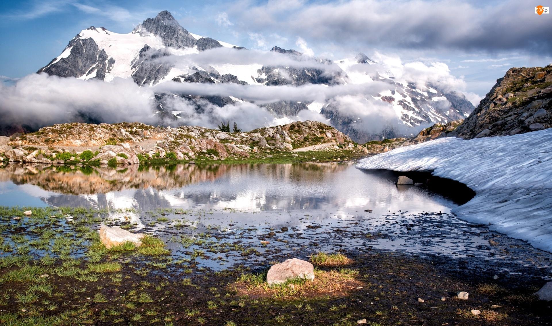 Góry, Chmury, Śnieg, Kamienie
