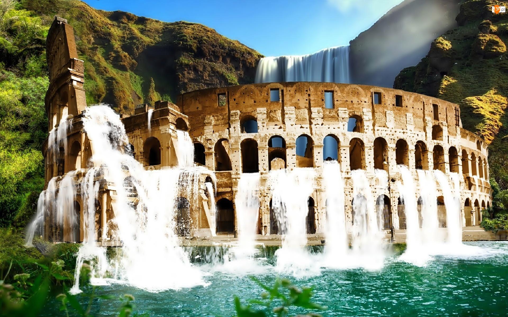 Góry, Koloseum, Wodospad