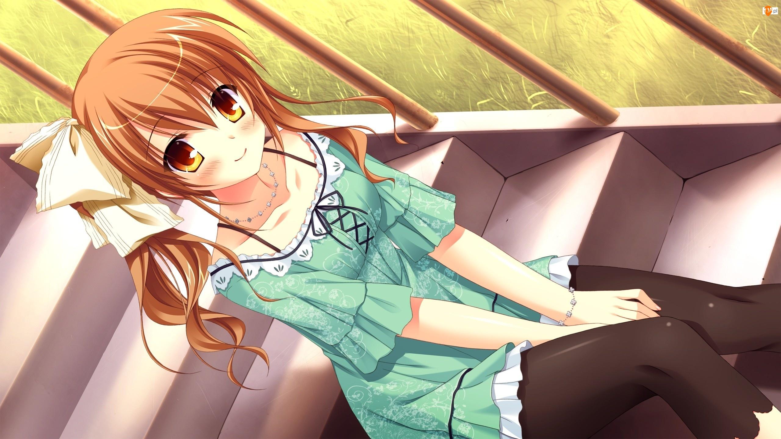 Dziewczyna, Anime, Schody, Manga