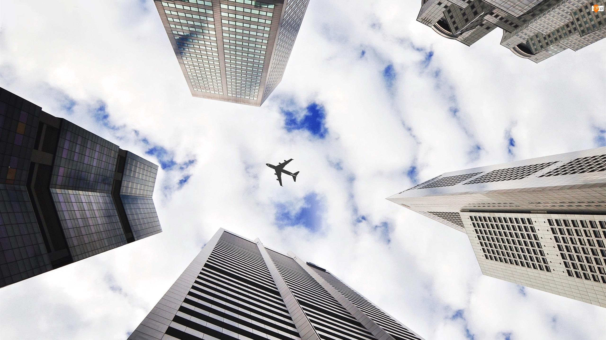 Chmury, Drapacze, Samolot, Chmur, Niebo, Domy