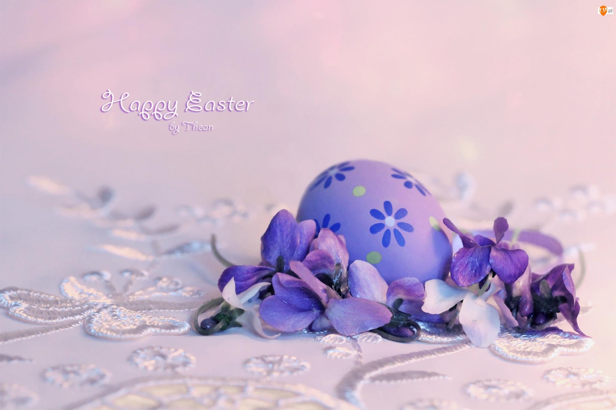 Jajeczko, Wielkanoc, Fiołki, Święta