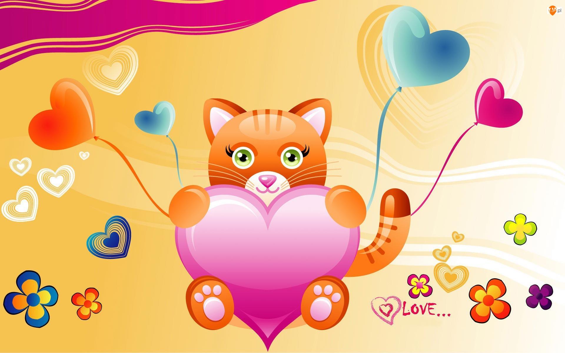 Grafika 2D, Miłość, Kotek, Walentynki, Serduszka