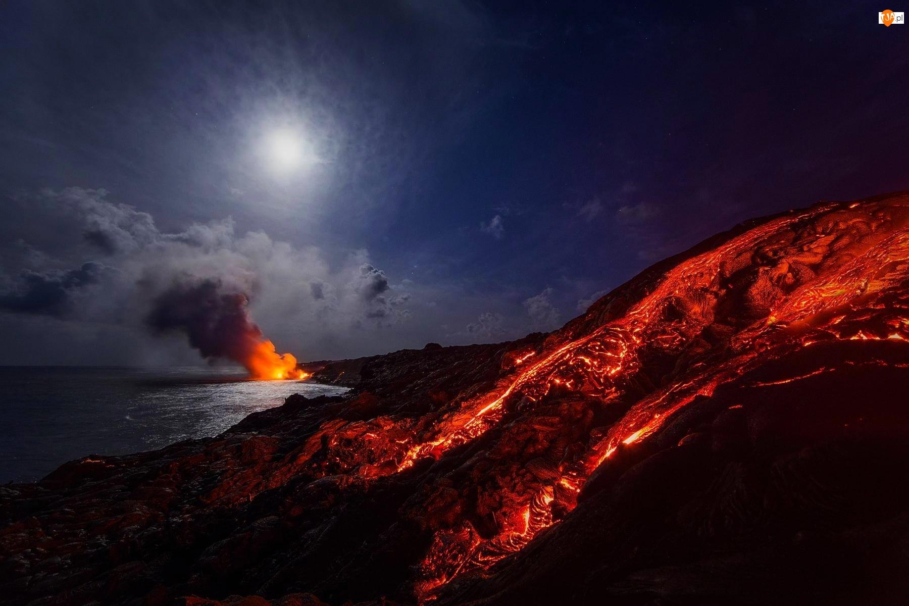 Wulkan, Noc, Lawa, Morze
