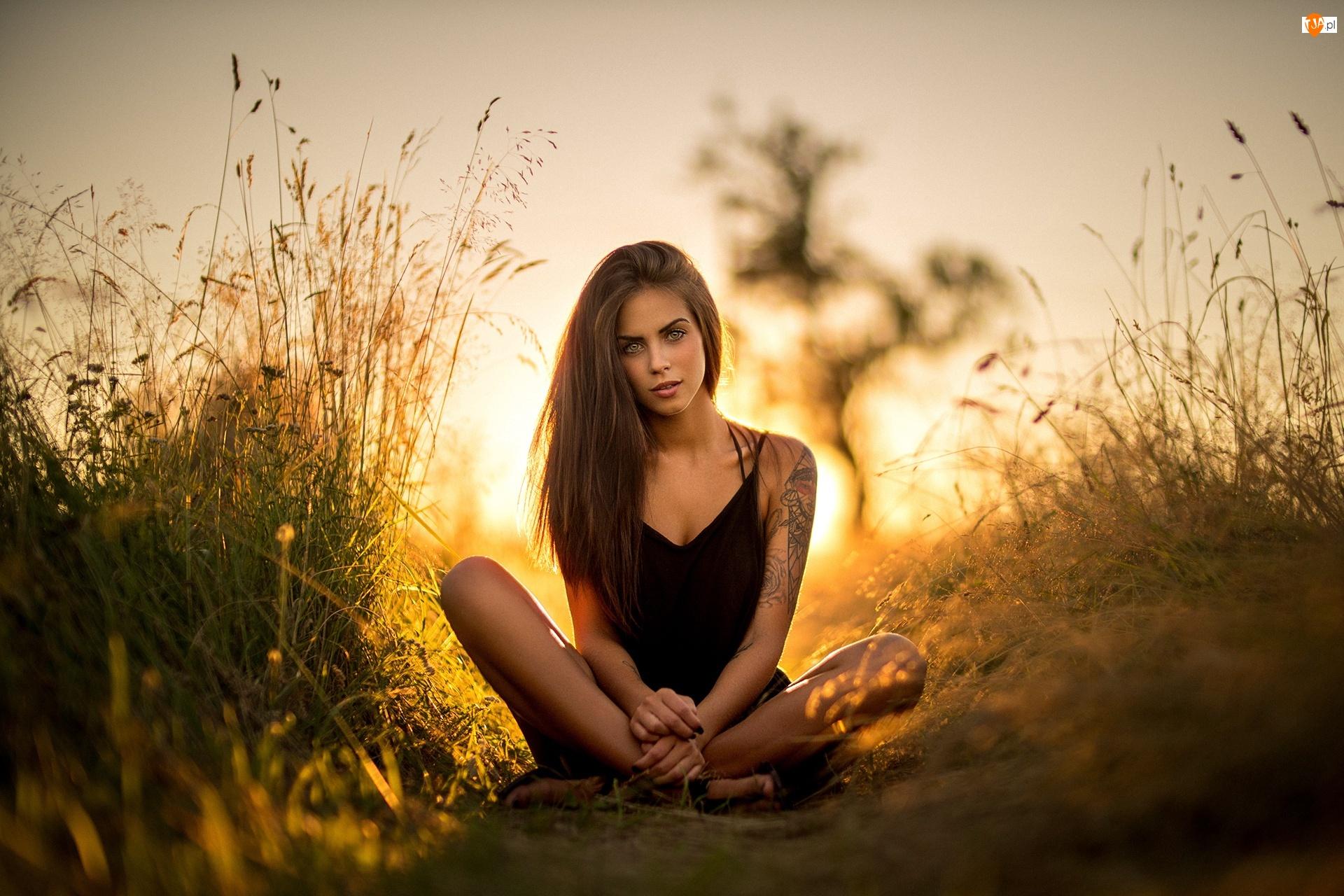 Słońce, Kobieta, Ścieżka, Tatuaż, Trawy