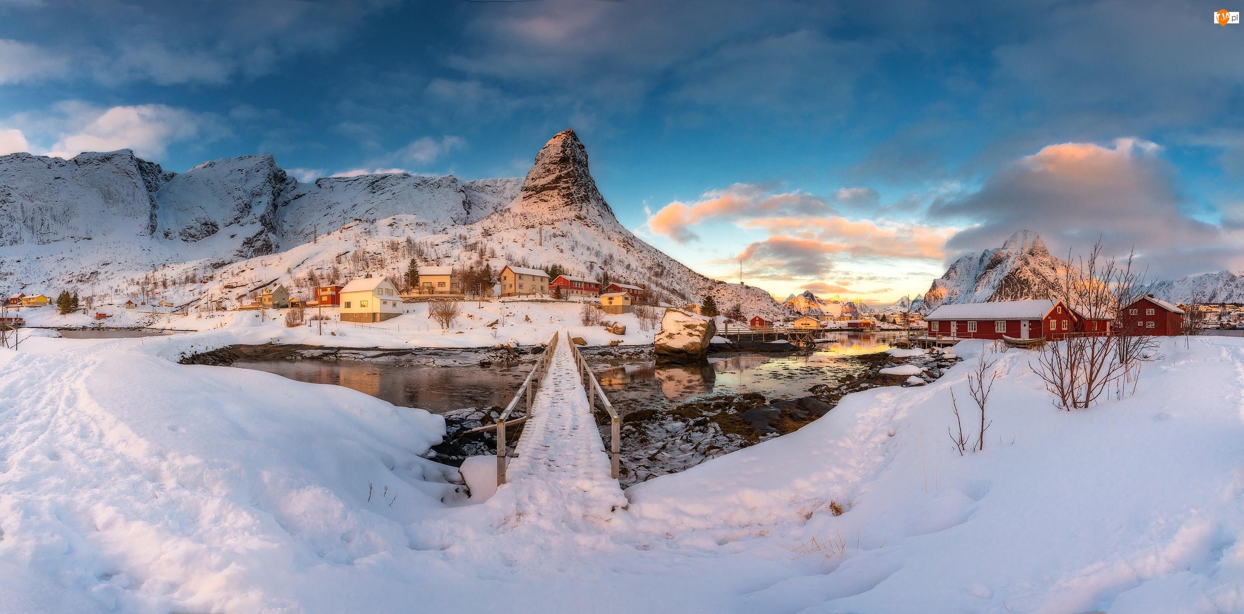 Wioska Reine, Góry, Norwegia, Domki, Lofoty, Zima