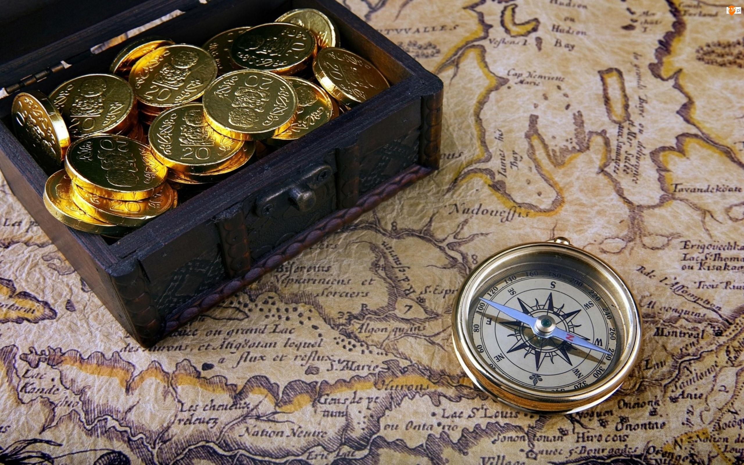 Pudełko, Kompas, Mapa, Monety