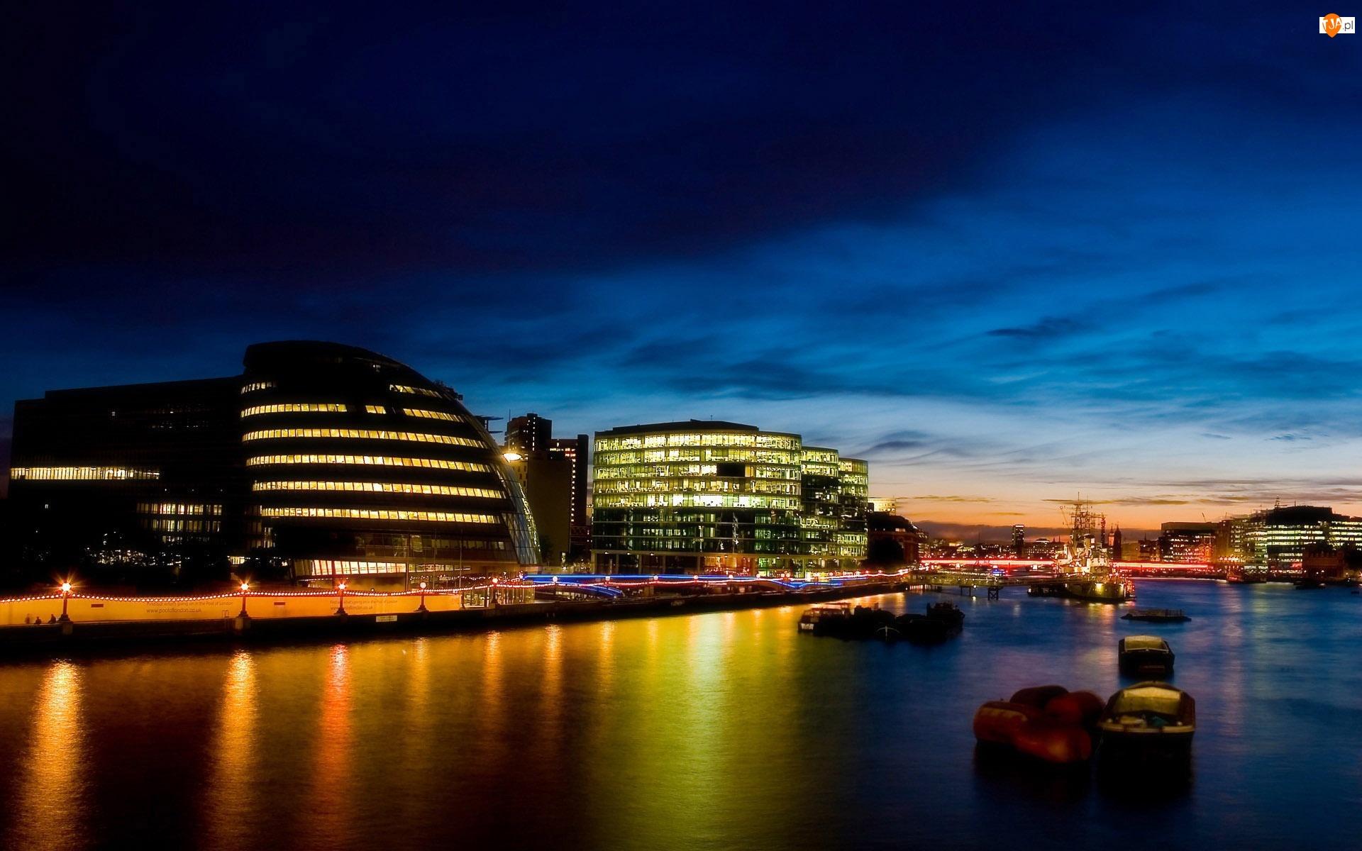 Londyn, Miasto nocą, Budowle, Rzeka