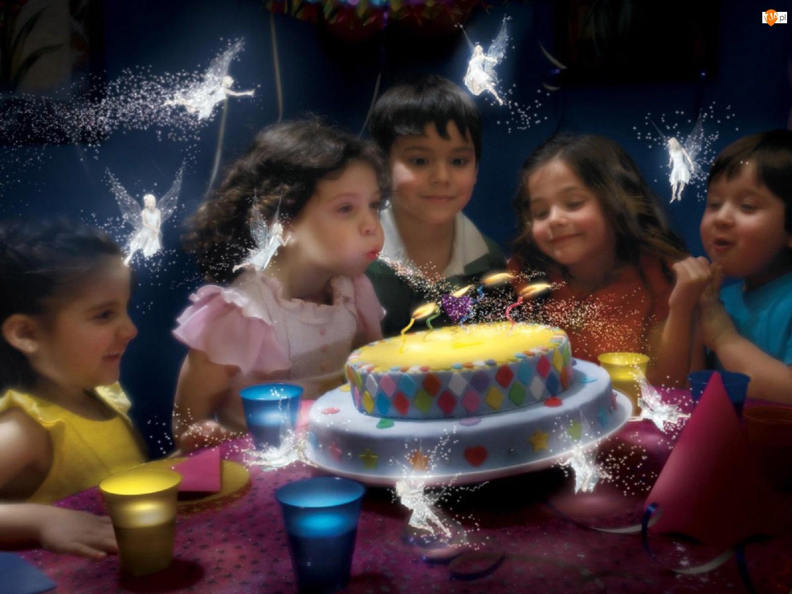 Urodziny, Wróżki, Tort, Dzieci