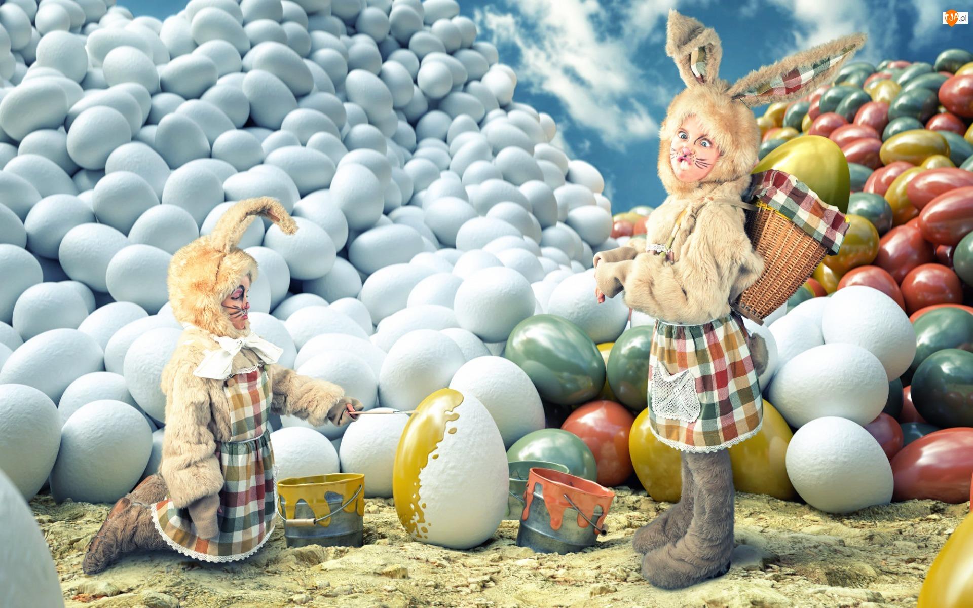 Jajka, Wielkanoc, Dzieci, Śmieszne, Malowane