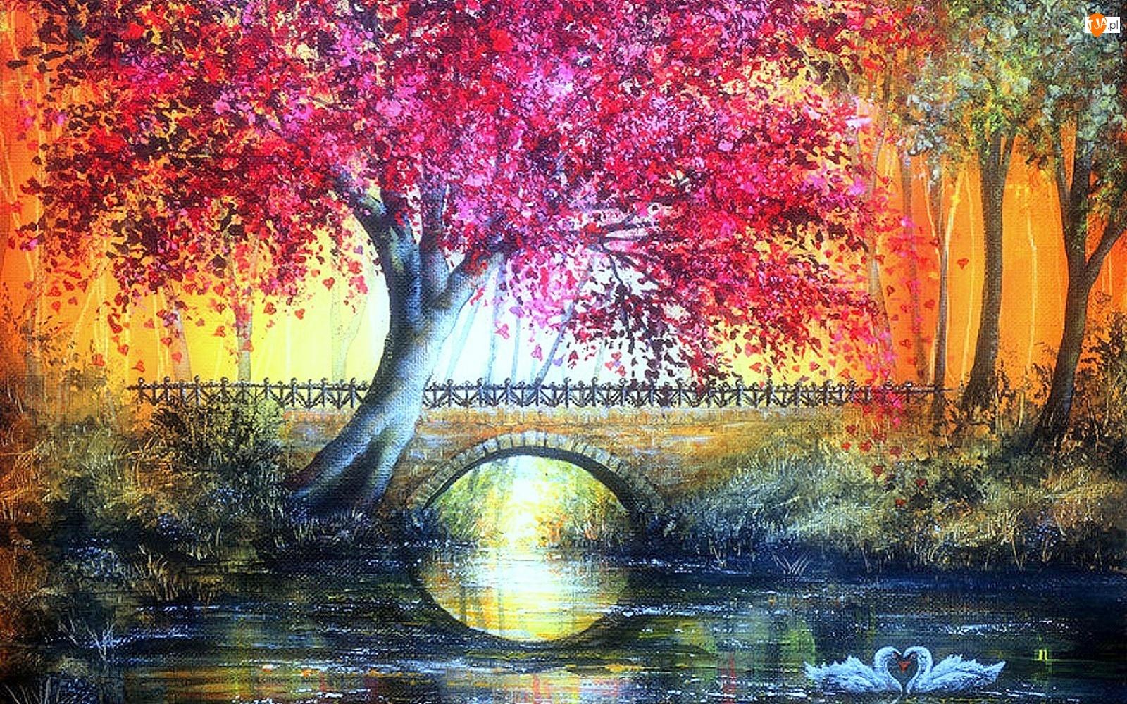 Most, Staw, Malarstwo, Łabędzie, Obraz, Drzewo