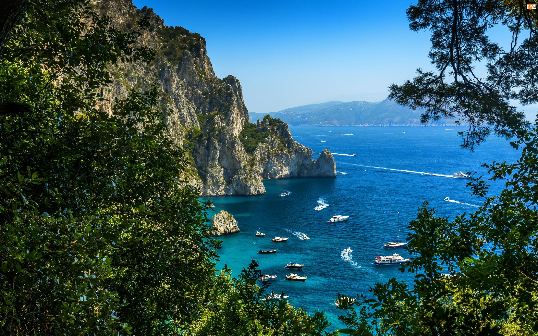 Motorówki, Morze, Skały, Zatoka, Capri, Drzewa, Jachty
