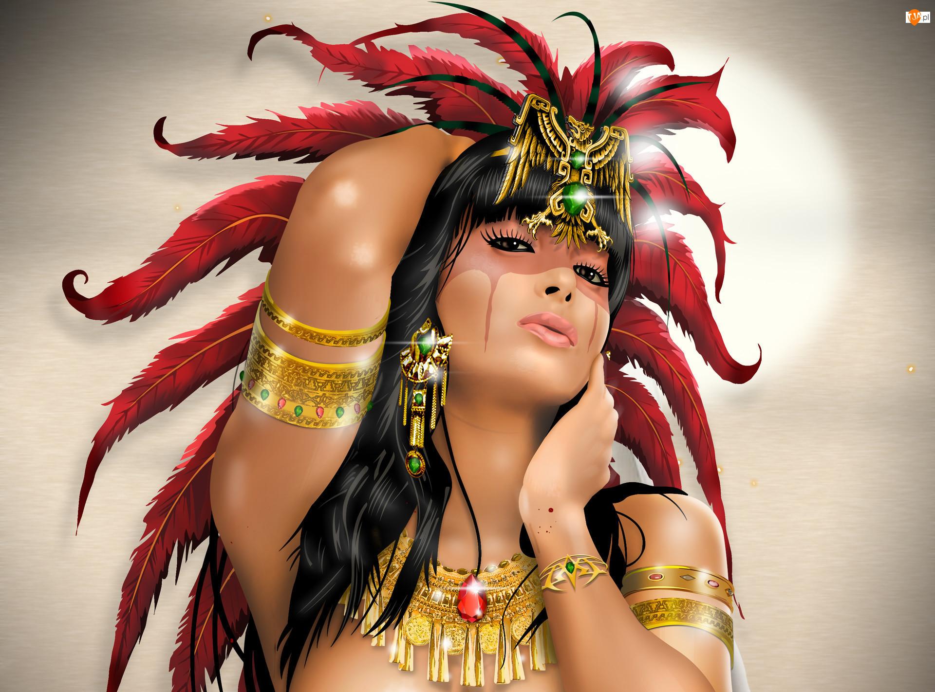 Kobieta, Grafika 3D, Pióropusz, Biżuteria