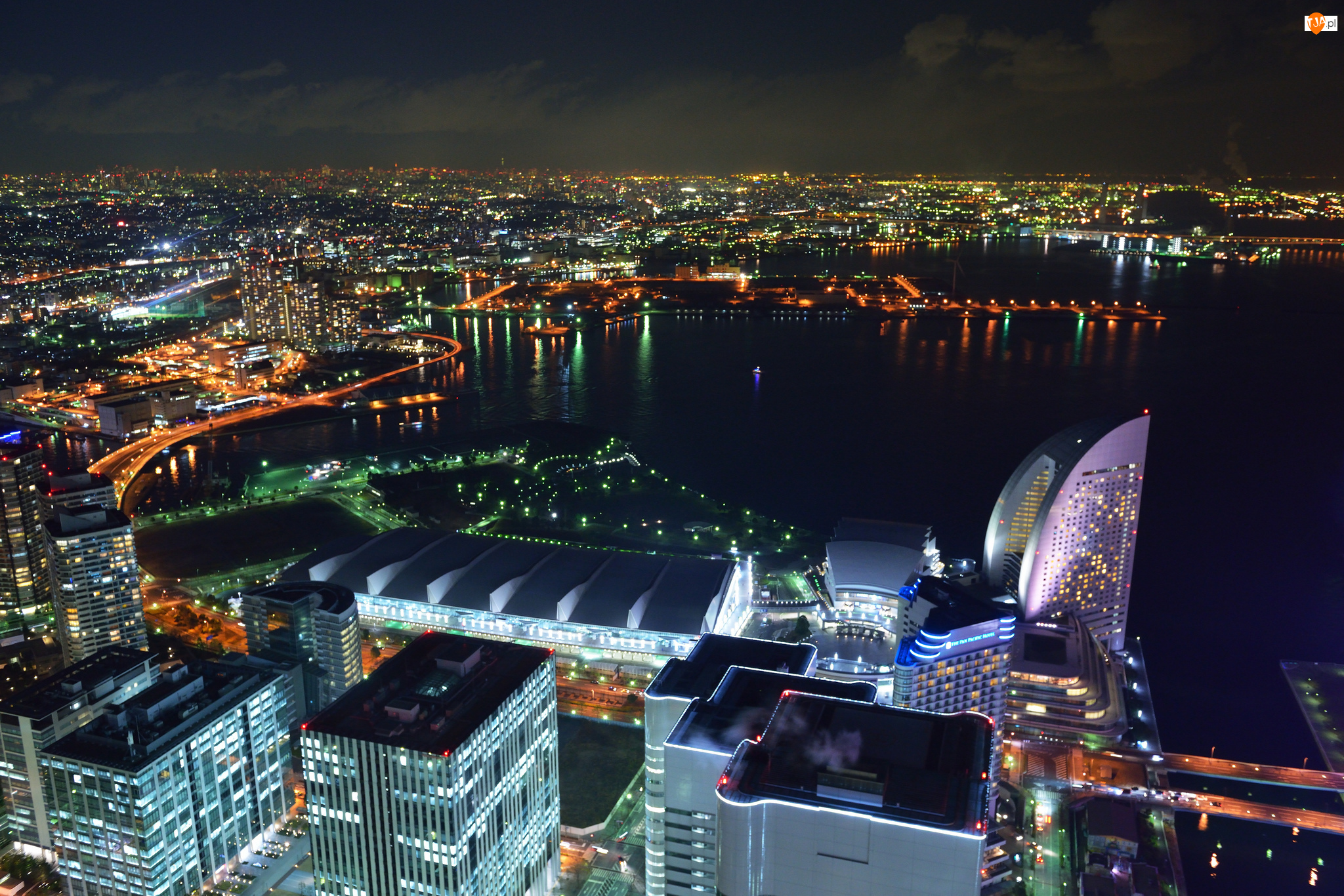 Jokohama, Dom, Japonia, Noc