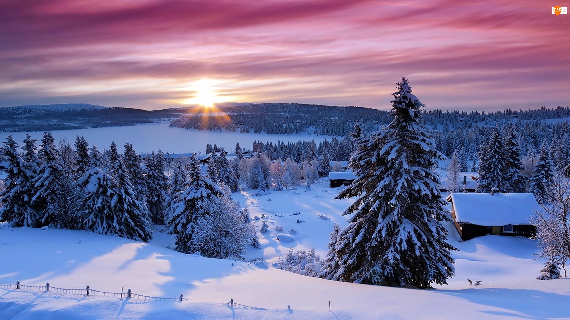 Zima, Góry, Zachód Słońca, Lasy, Wioska