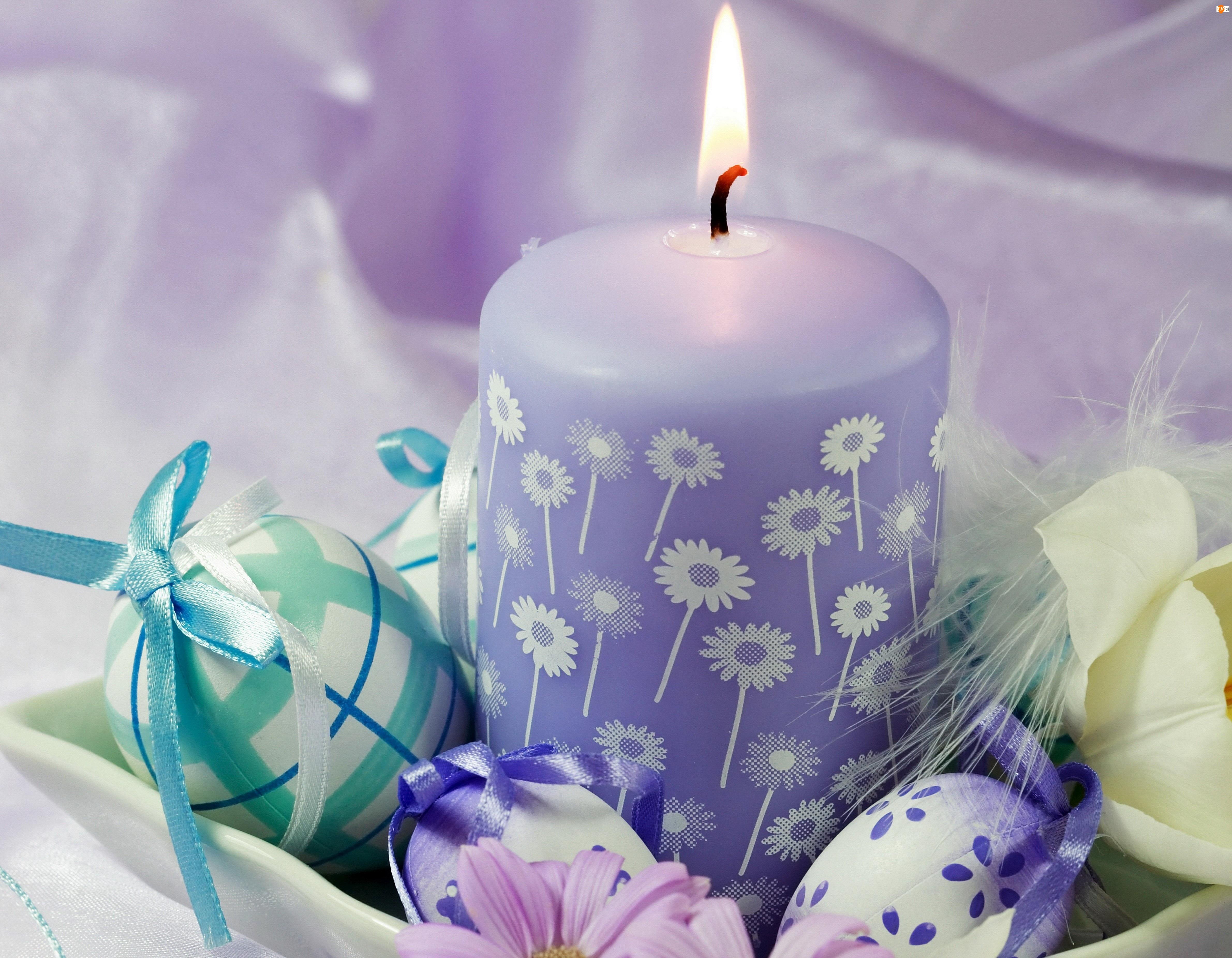 Wielkanoc, Świeczka, Jajka, Fioletowa