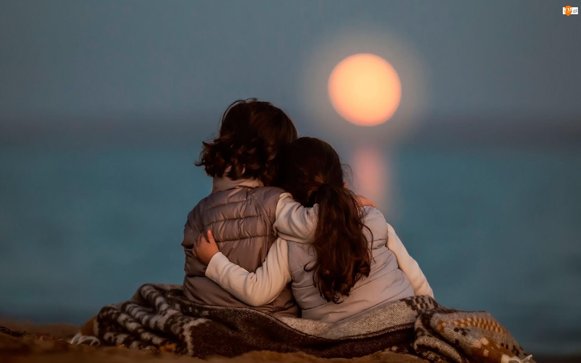 Morze, Zachód słońca, Dzieci