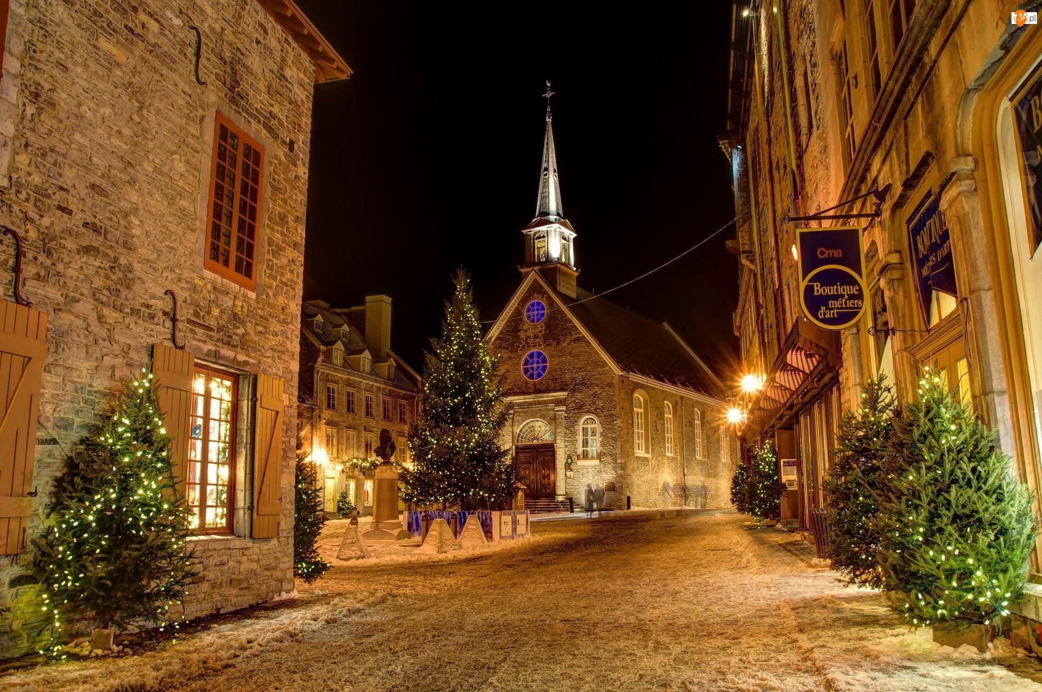 Kościół, Kanada, Choinki, Quebec