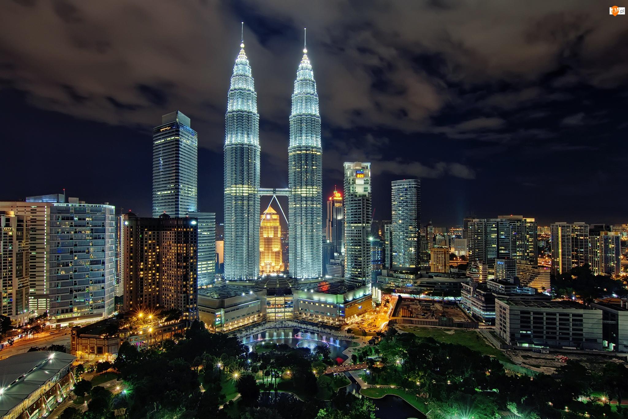 Malezja, Noc, Kuala Lumpur, Miasto