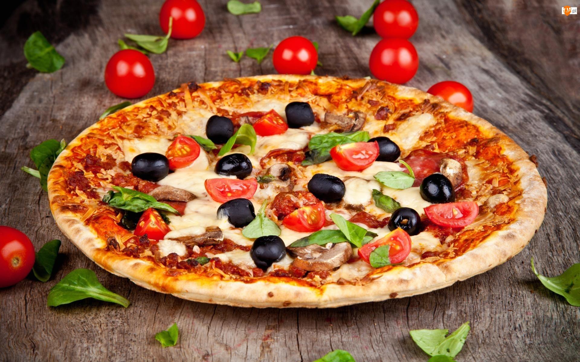 Oliwki, Listki, Stół, Oregano, Pizza, Pomidorki