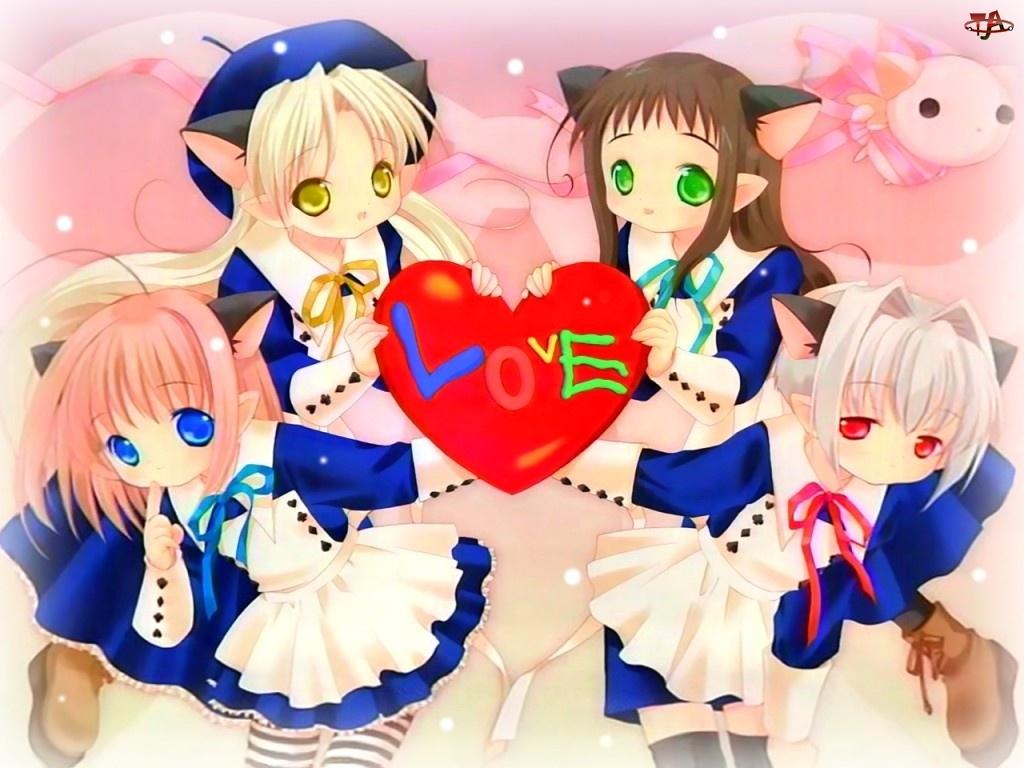Bottle Fairy, fartuszki, dziewczyny, serce