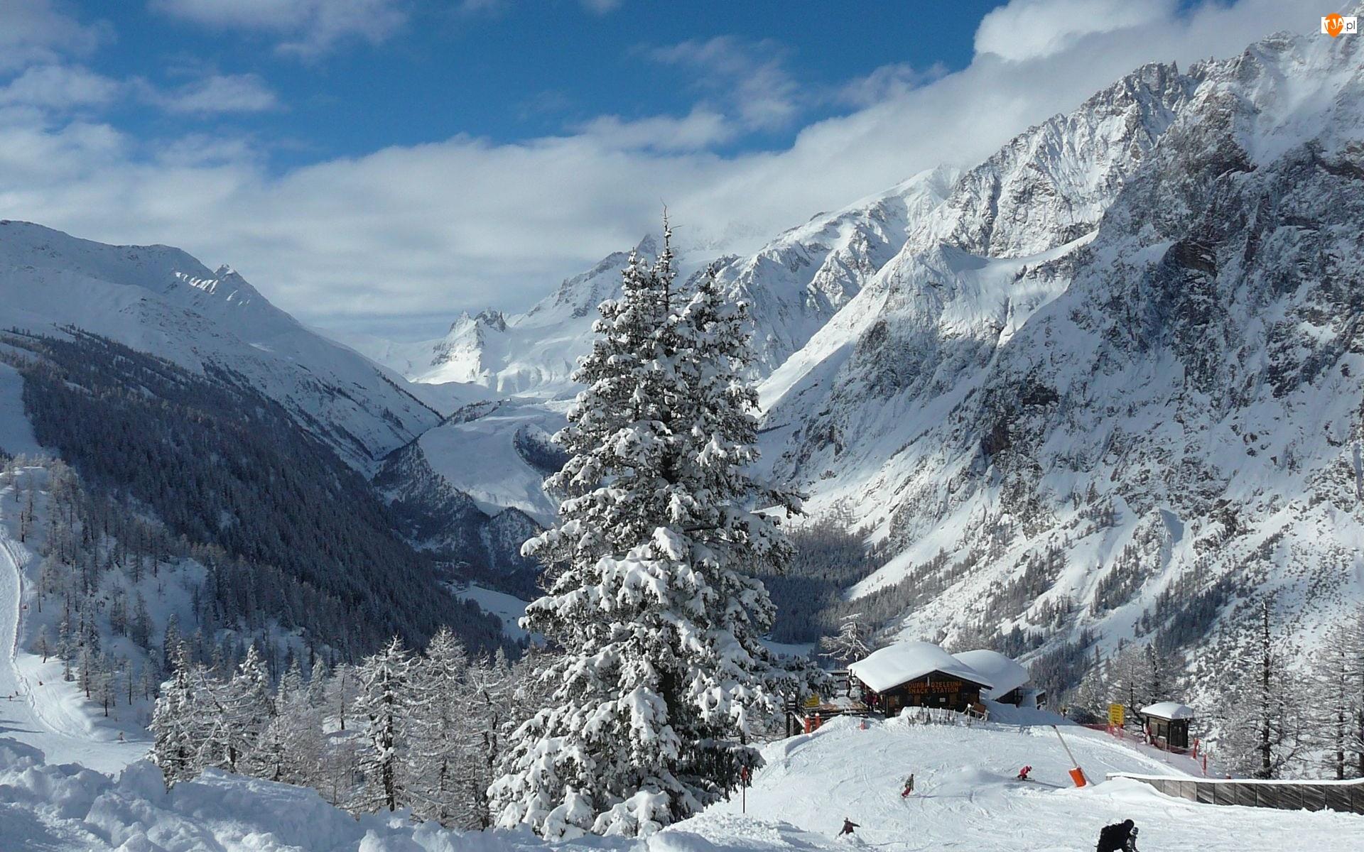 Zima, Góry, Budynki, Lasy, Narciarze