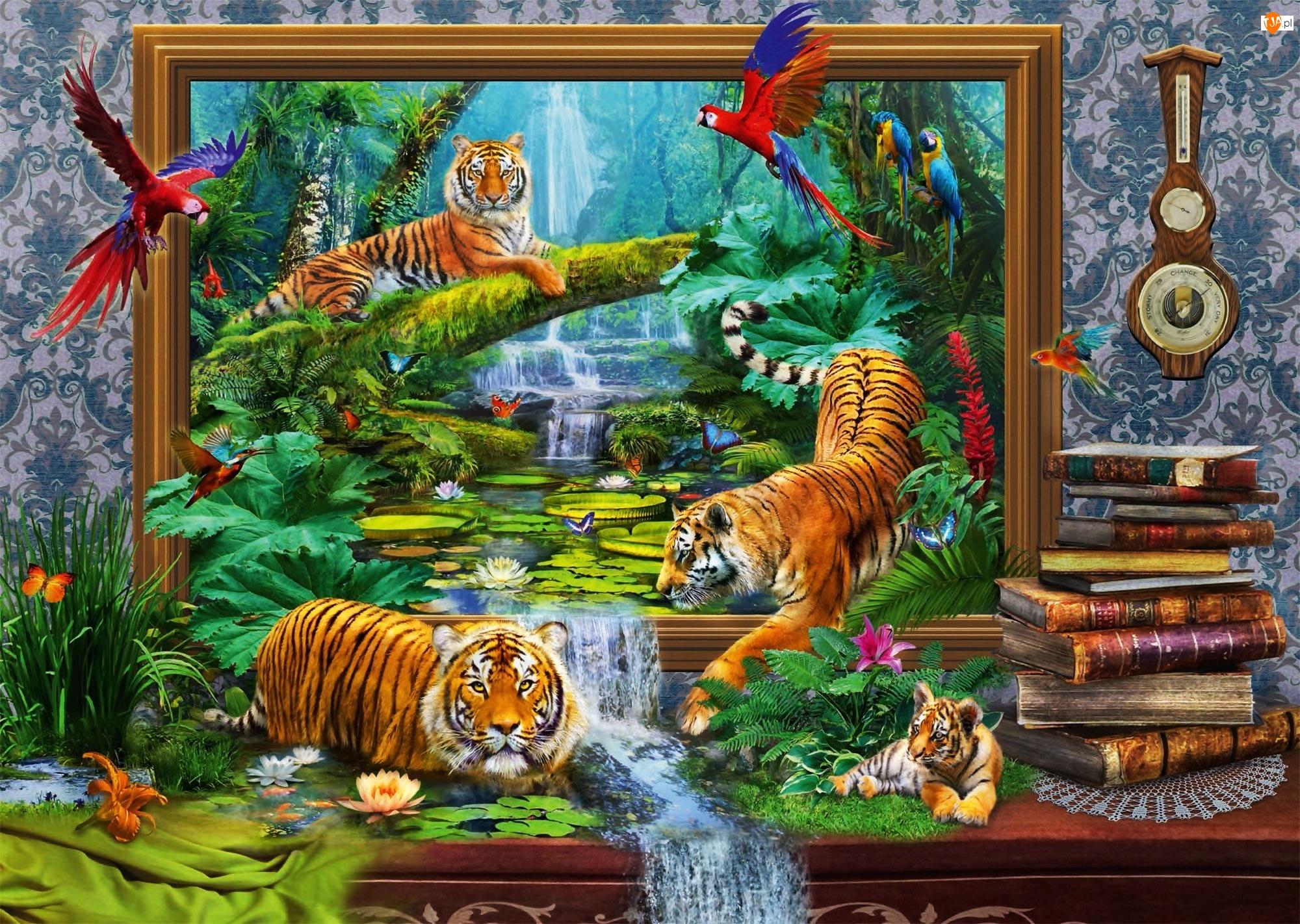 Obraz 4D, Tygrysy, Dżungla