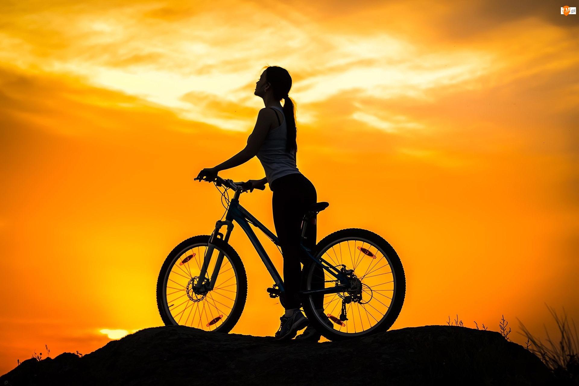 Zachód, Dziewczyna, Słońca, Rower