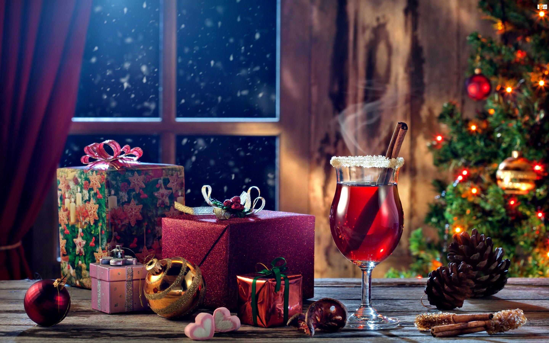 Choinka, Kieliszek, Boże Narodzenie, Prezenty, Okno, Kompozycja