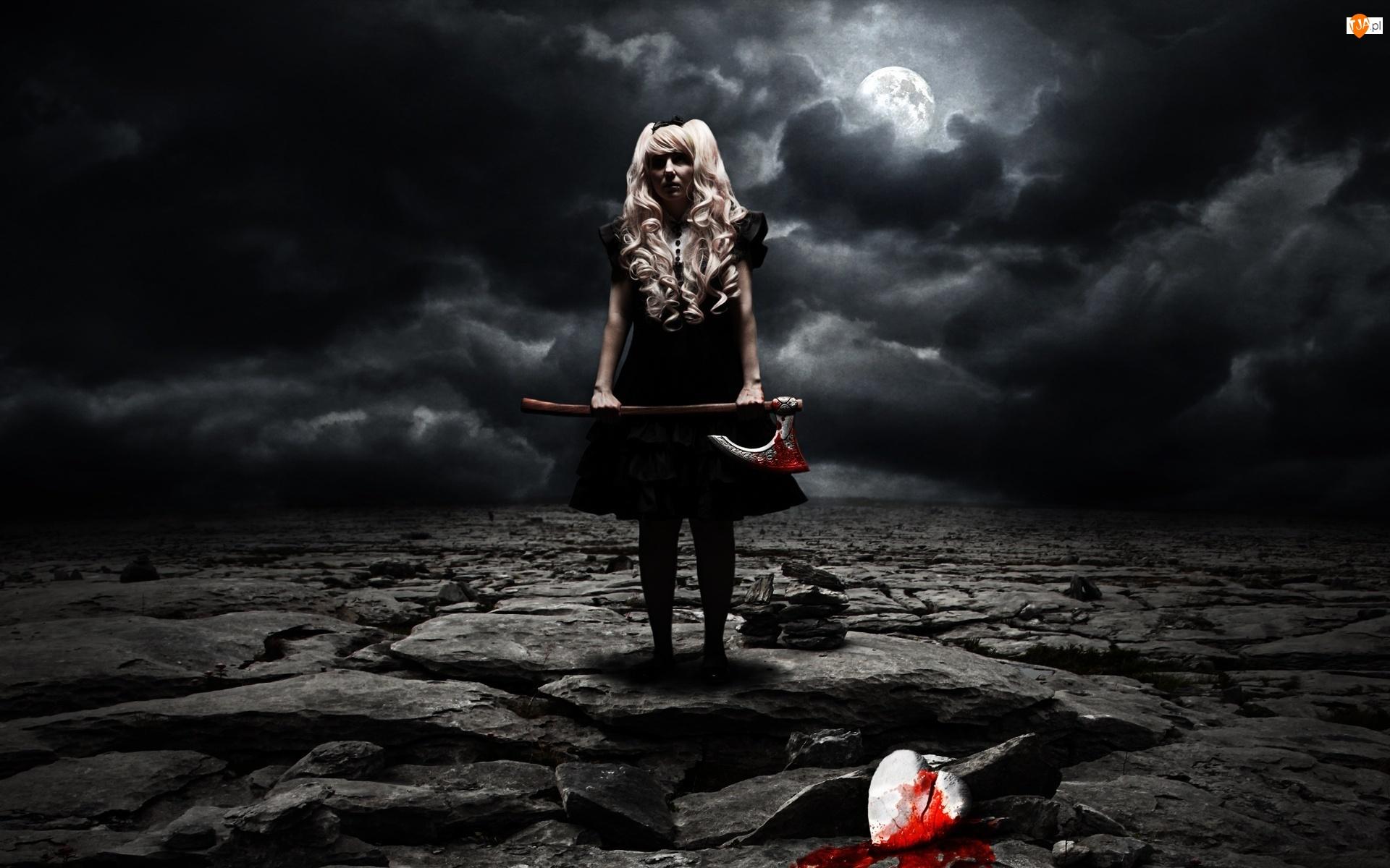 Mrok, Krew, Topór, kobieta, Chmury, Księżyc, Serce