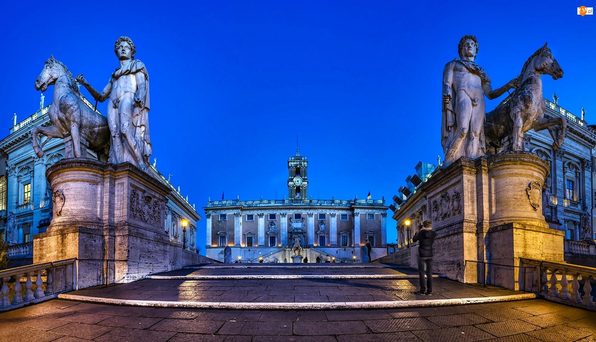 Posągi, Włochy, Rynek, Rzym, Rzeźby