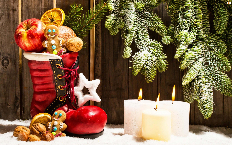 Owoce, Gwiazdki, Świece, Kompozycja, But, Świąteczna, Gałązki, Ciastka
