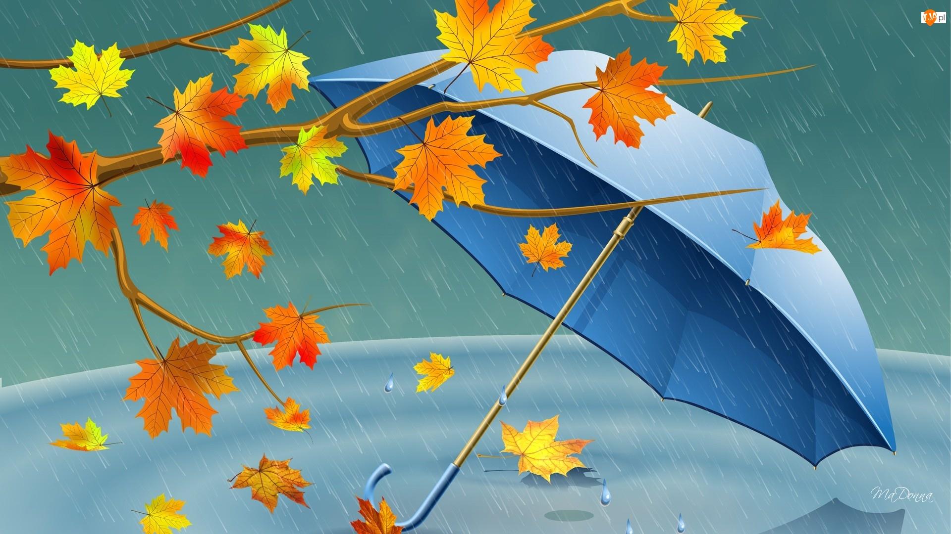 Jesienne, Deszcz, Liście, Parasol