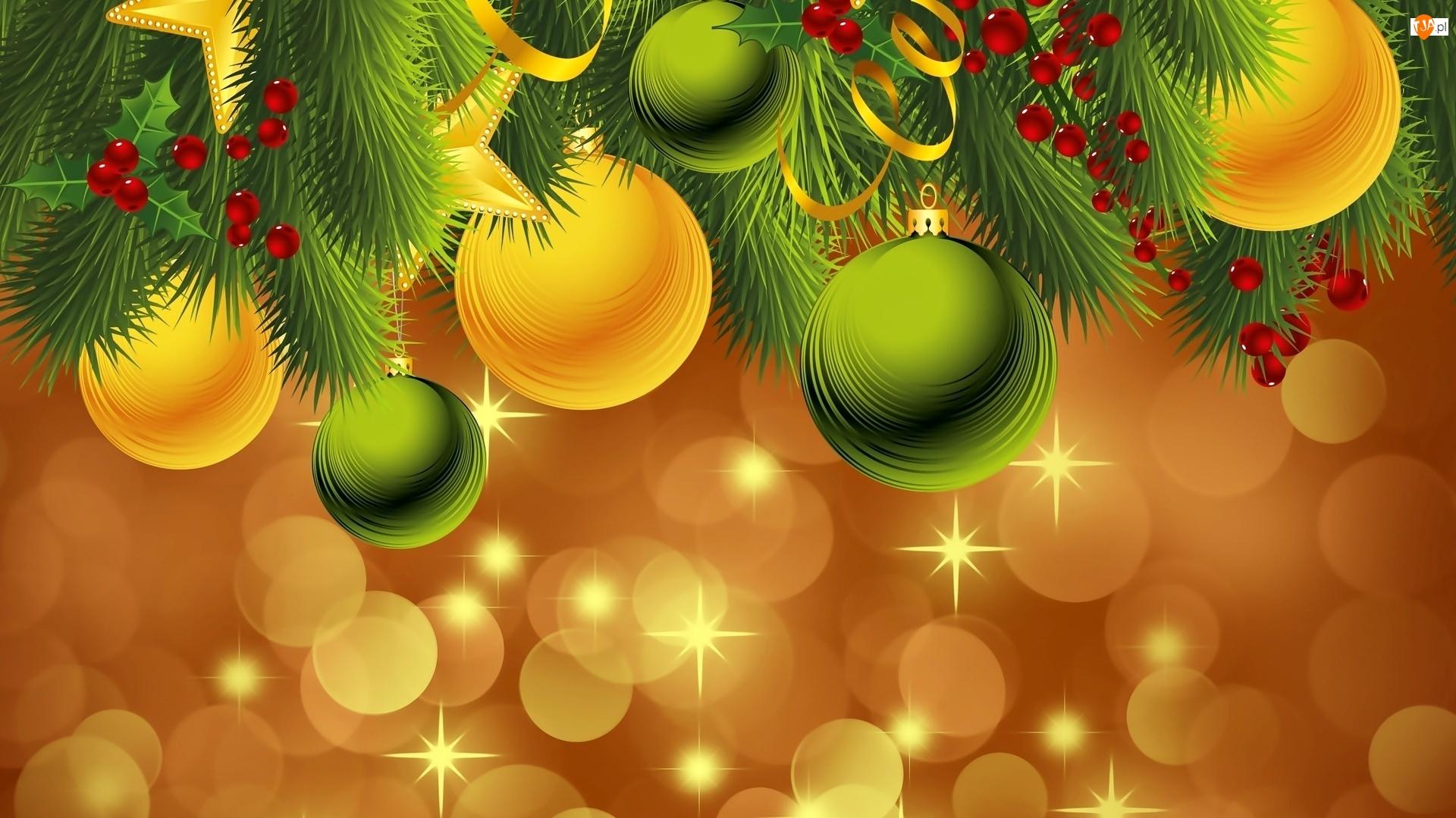 Boże Narodzenie, Dekoracja, Bombki, Gałązki