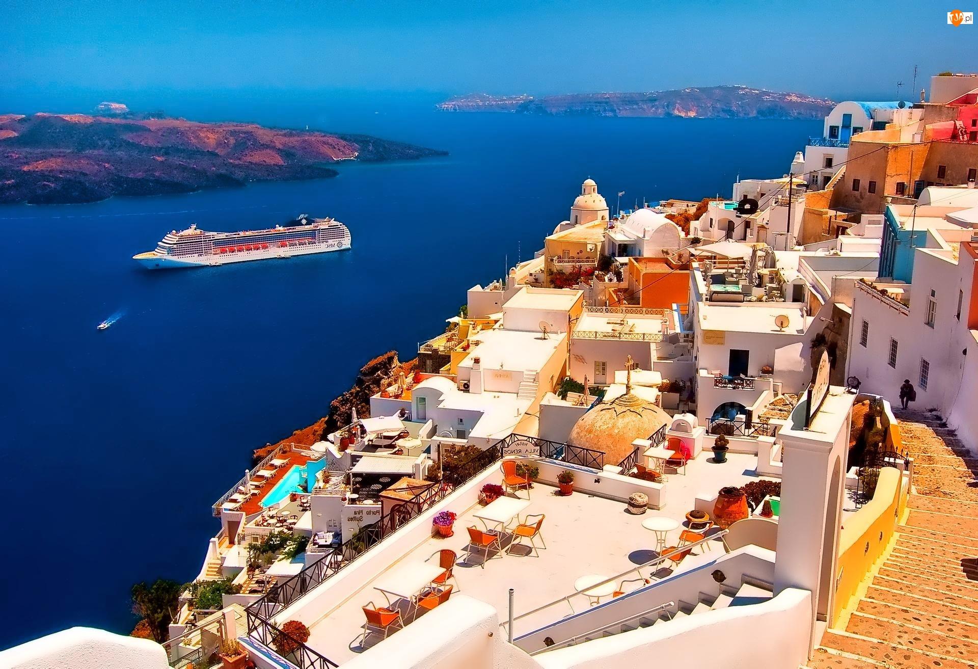 Santorini, Prom, Grecja, Zatoka