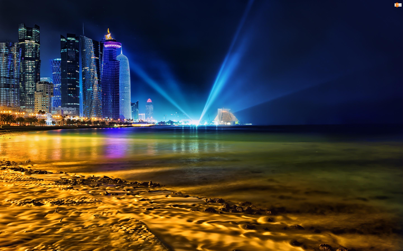 Qatar, Światła, Zatoka, Drapacze Chmur