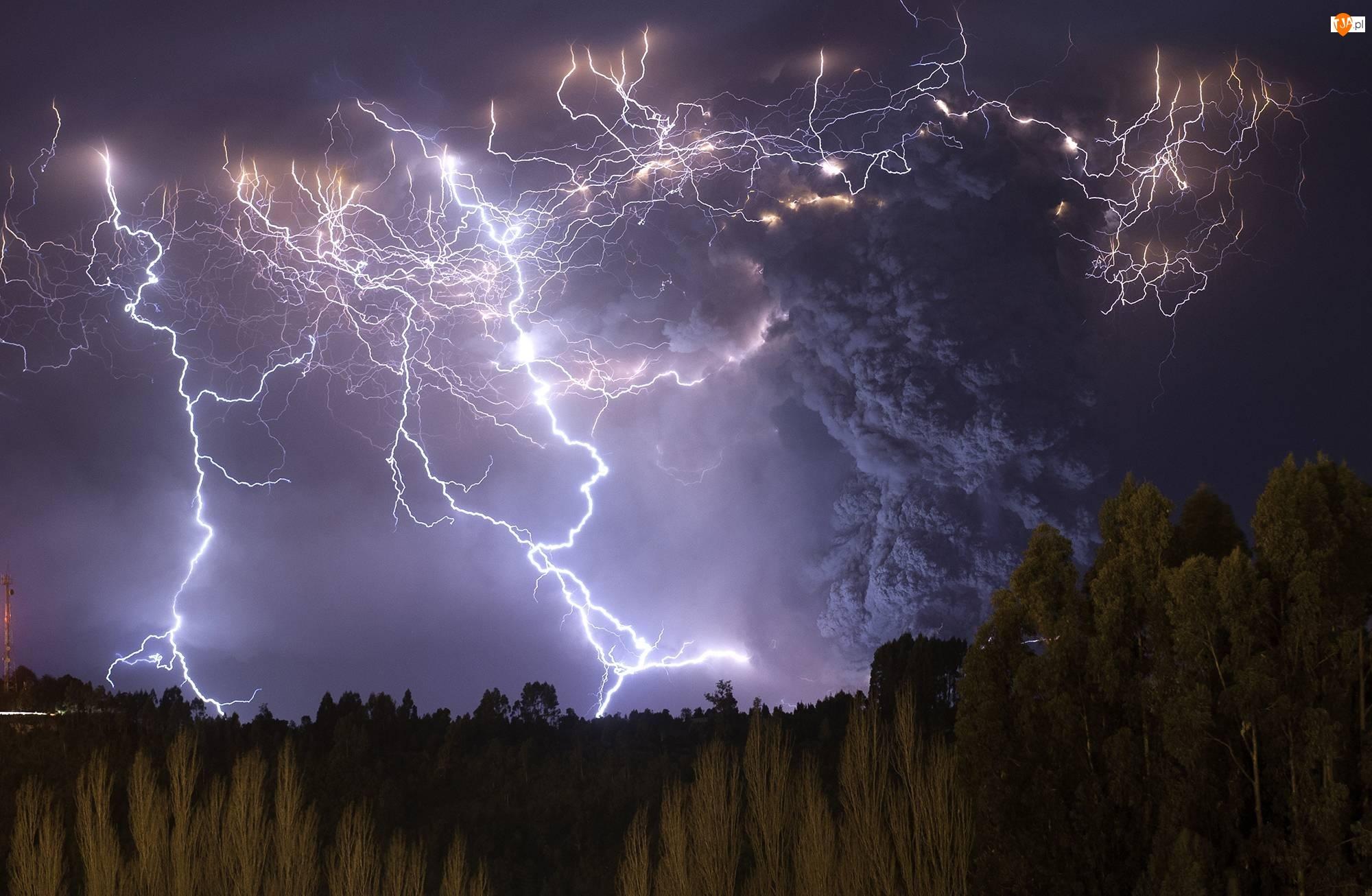 Burza, Skały, Niebo, Błyskawice