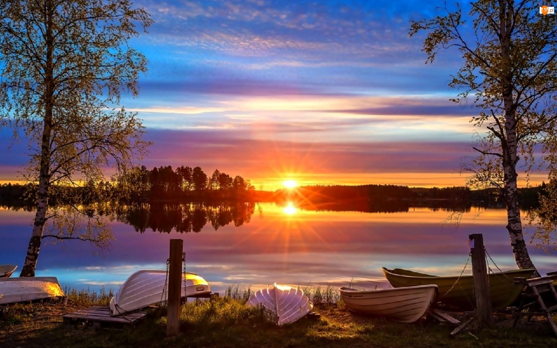 Słońca, Lasy, Łódki, Jezioro, Promienie, Brzozy, Wschód