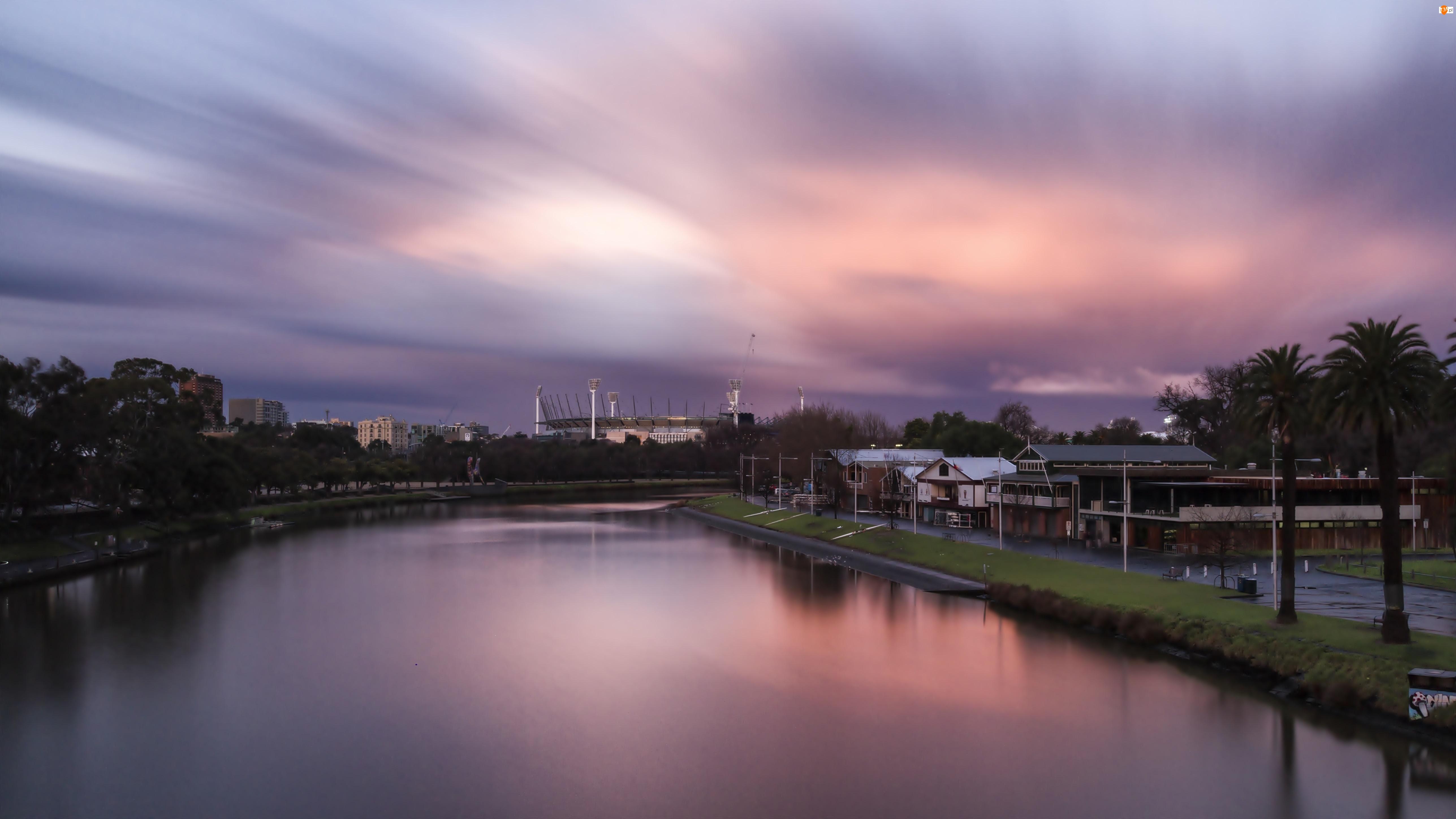 Australia, Zachód Słońca, Melbourne, Rzeka Yarra