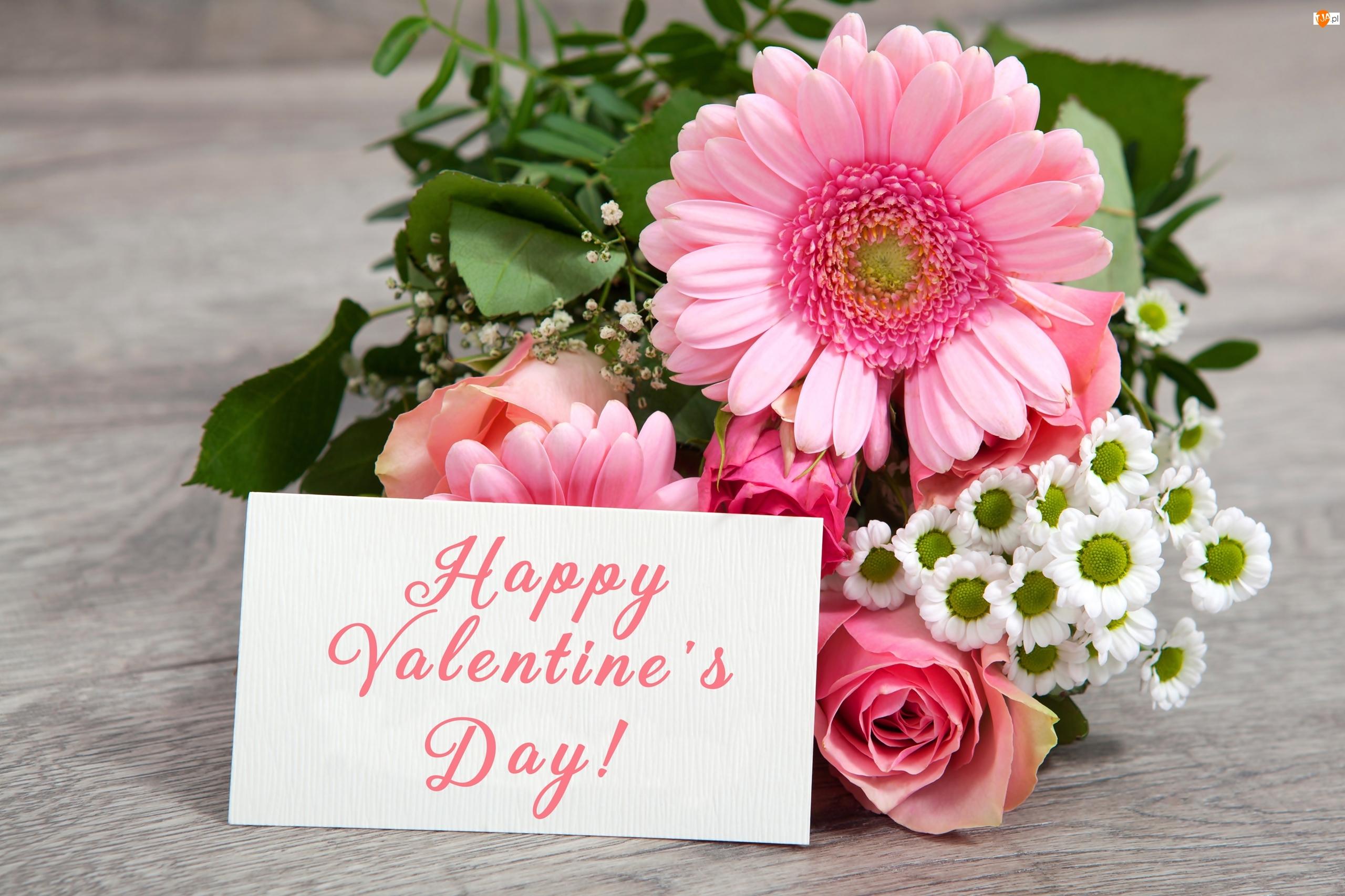 Bukiet, Walentynki, Gerbery, Róże