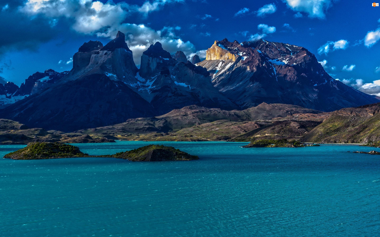 Wysepki, Wybrzeże, Góry, Chile, Morze