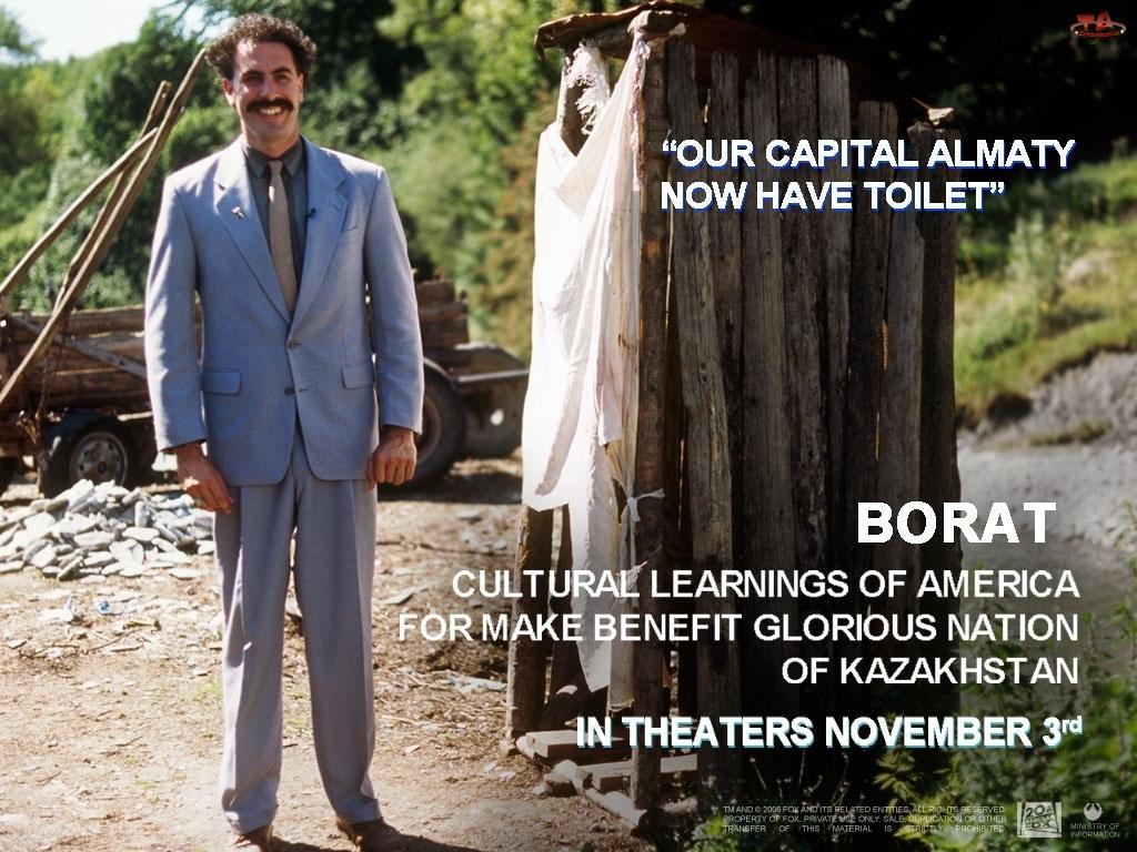Borat, toaleta, Sacha Baron Cohen, garnitur