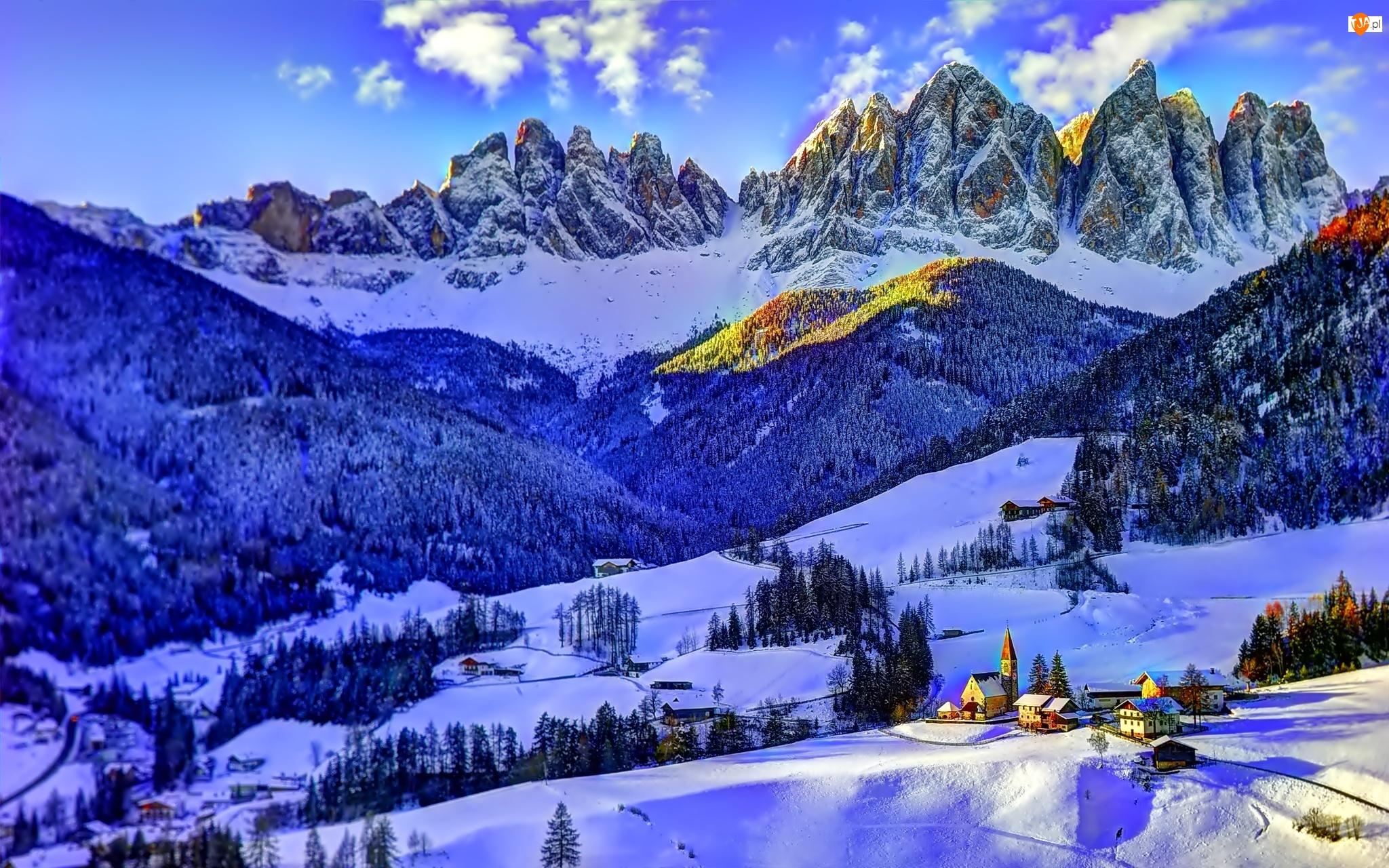 Wioska, Lasy, Zima, Góry