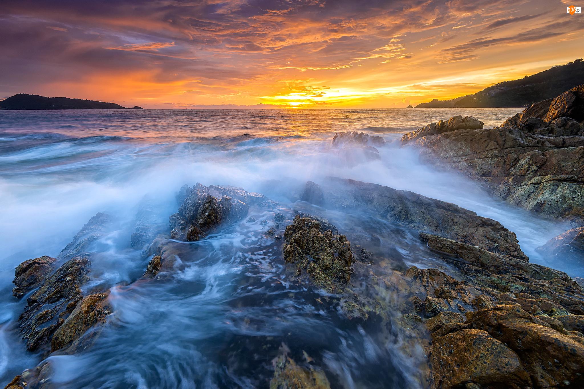 Morze, Zachód słońca, Fale, Skały