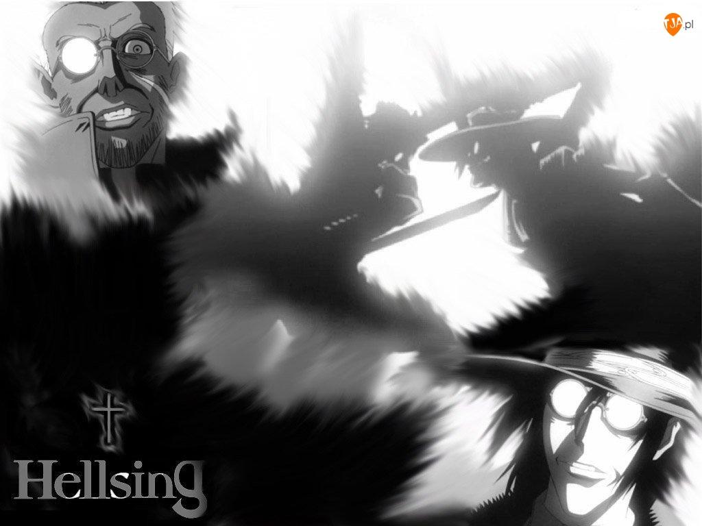Hellsing, okulary, cross, ludzie