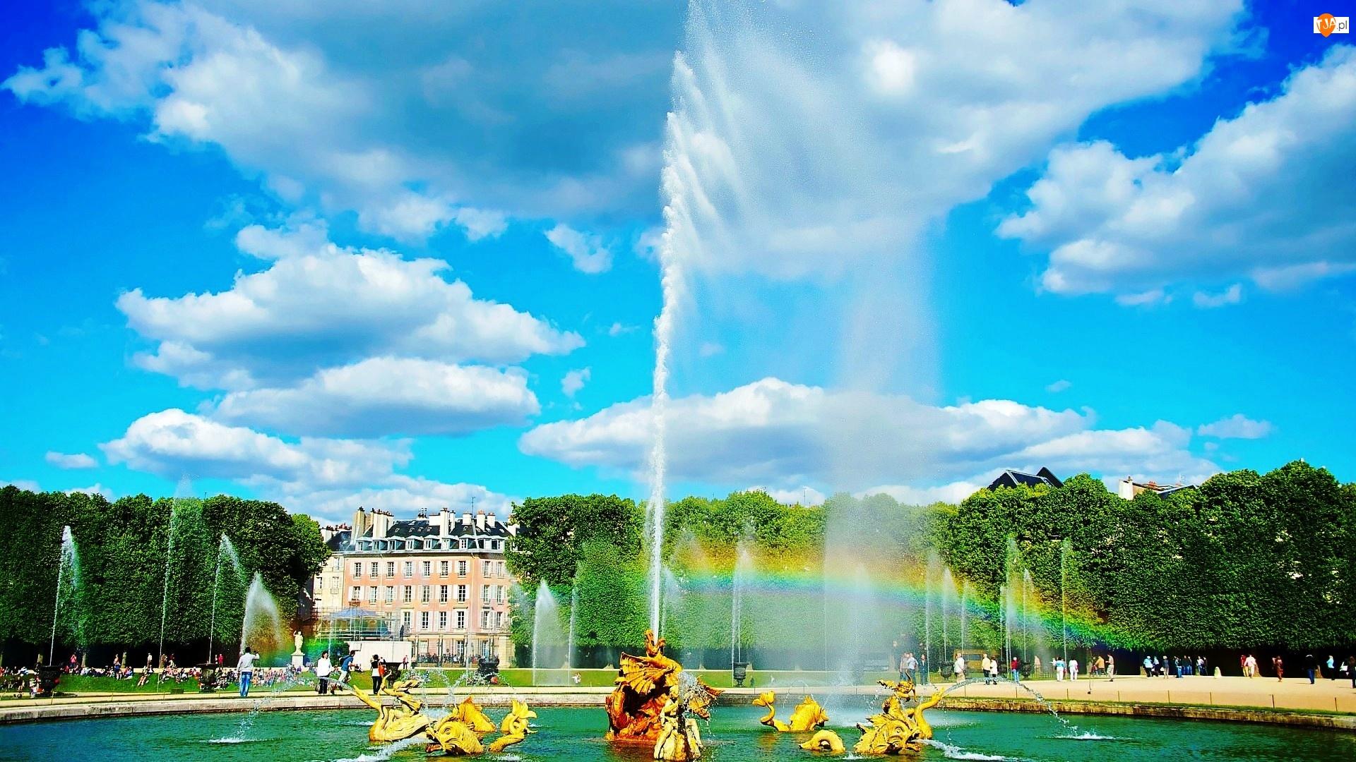 Fontanna, Ogród, Paryż, Wersal, Francja