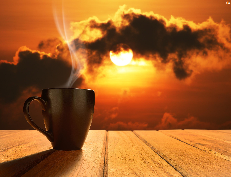 Zachód słońca, Para, Chmury, Kubek