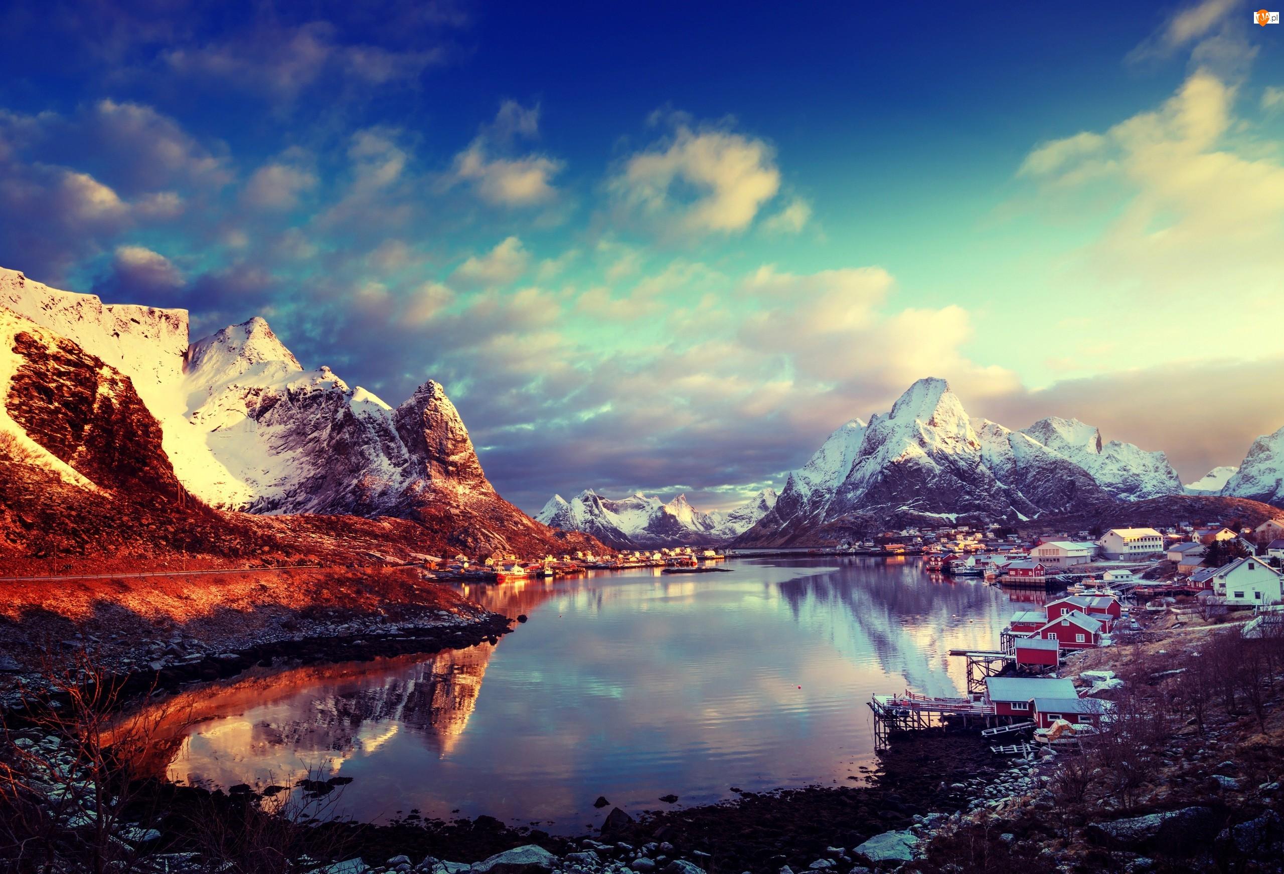 Zima, Norwegia, Chmury, Wioska Reine, Góry