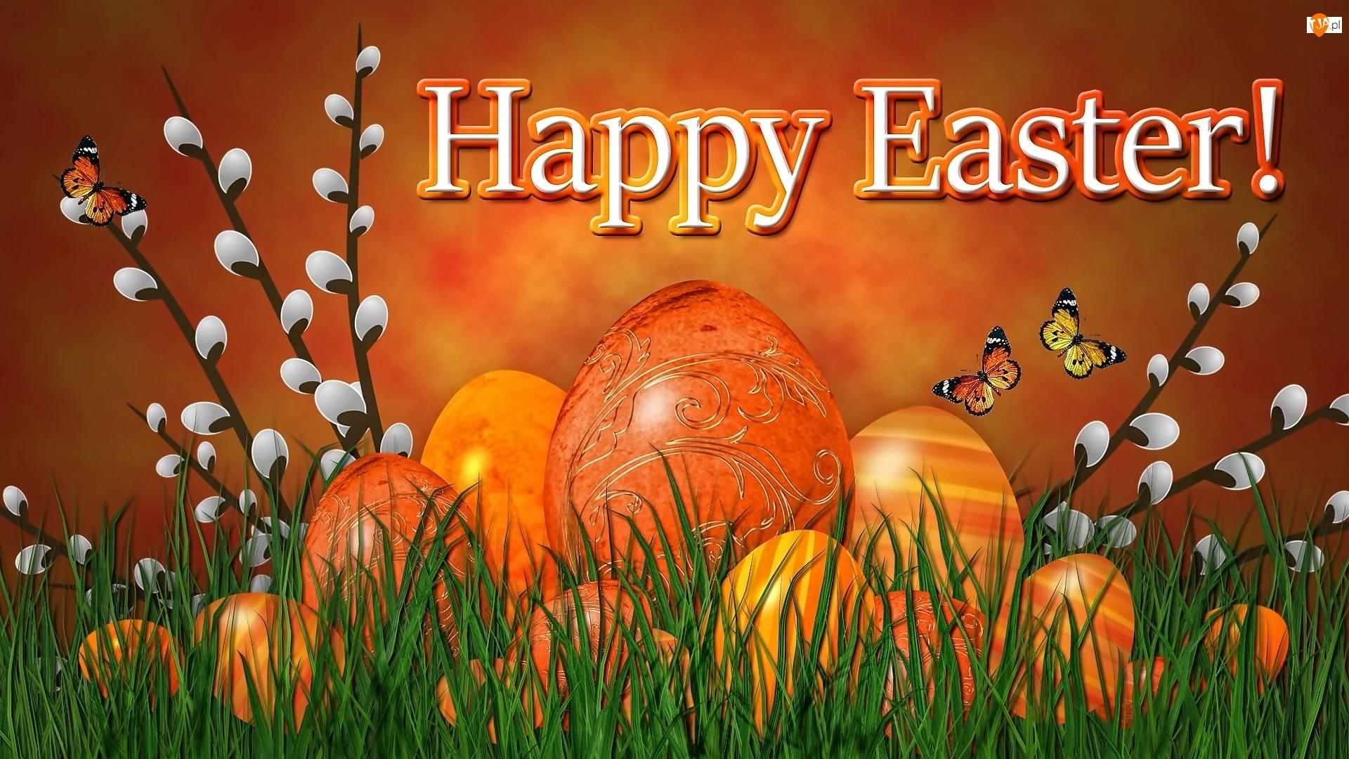Grafika 2D, Wielkanoc, Bazie, Jajka, Motylki