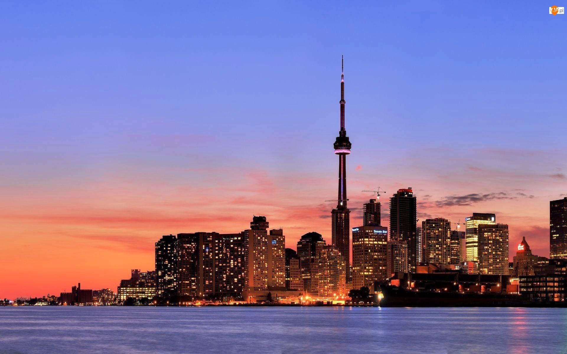 Toronto, Miasto nocą, Kanada, Drapacze Chmur
