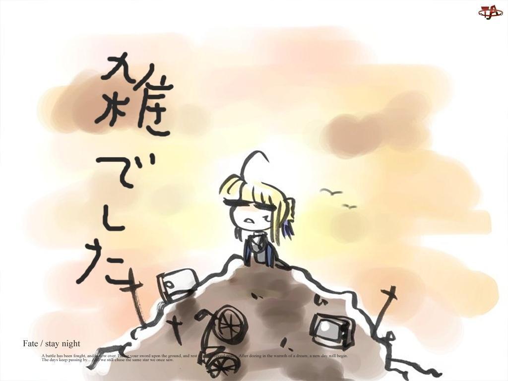 napisy, Fate Stay Night, dziecko, rysunek, chmury